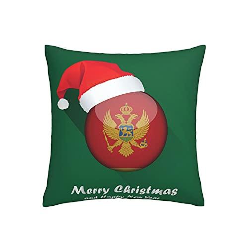 Kissenbezug, Motiv: Flagge Montenegro, quadratisch, dekorativer Kissenbezug für Sofa, Couch, Zuhause, Schlafzimmer, Indoor Outdoor, niedlicher Kissenbezug 45,7 x 45,7 cm