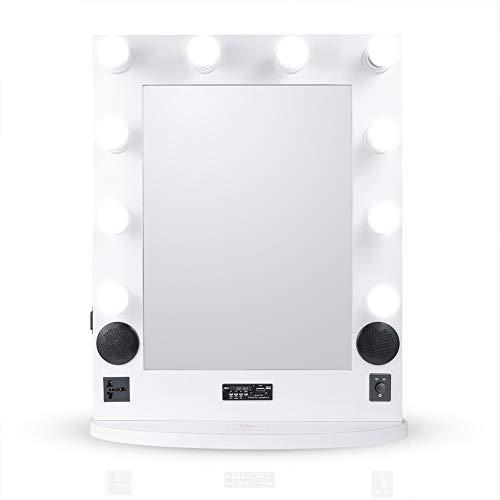 LUVODI Espejo Hollywood 52 x 65 x 4cm Espejo de Maquillaje con 10 Bombillas Iluminación Ajustable Función de Bluetooth Reproductor de Música Ideal para Mesa Pared Dormitorio