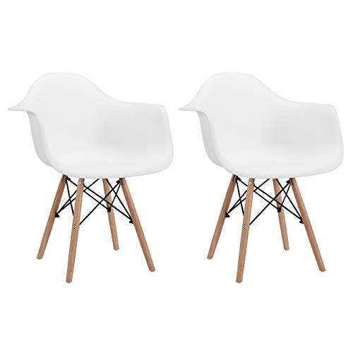 CangLong Natural Wood Legs Mid Century Modern DSW Molded Shell Lounge Plastic Arm Chair for Living, Bedroom, Kitchen, Dining, Waiting Room,2 PCs Pack- White, Set of 2, White