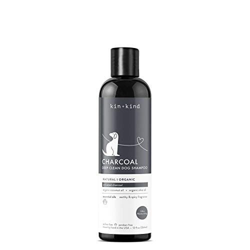 kin+kind Organic Activated Charcoal Dog Shampoo (12 fl oz) - Ease Itchy Irritation, Eliminate Odor - Safe, Natural Formula with Olive Oil, Coconut Oil and Patchouli - Hand-Mixed in The USA
