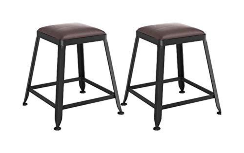 SYLOZ Taburetes Bar Taburete de Barra de 2 Piezas Cafe, sillas de Restaurante de Cocina con Patas de Metal Asiento tapizado for Bar Café Bistro Desayuno
