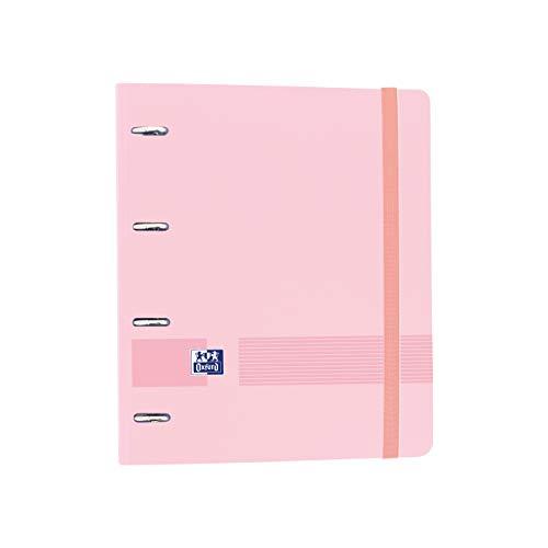 Oxford, Archivador 4 anillas plástico polyfoam con recambio y goma Oxford Live & Go, A4+ con recambio 100 Hojas, 5 bandas color y cuadrícula 5x5, color Rosa Chicle