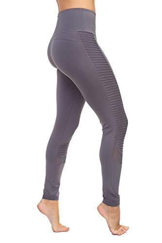 Aekonami AEKO Fitness Yoga Pants 4 Way Stretch Workout Running Leggings for Women (L, Gray)
