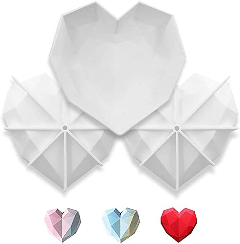Molde de silicona con forma de corazón de diamante, molde de silicona de 7 pulgadas, molde de chocolate, mousse de postre para tarta de queso, herramientas de postre caseras (1 unidad/antiadherente)