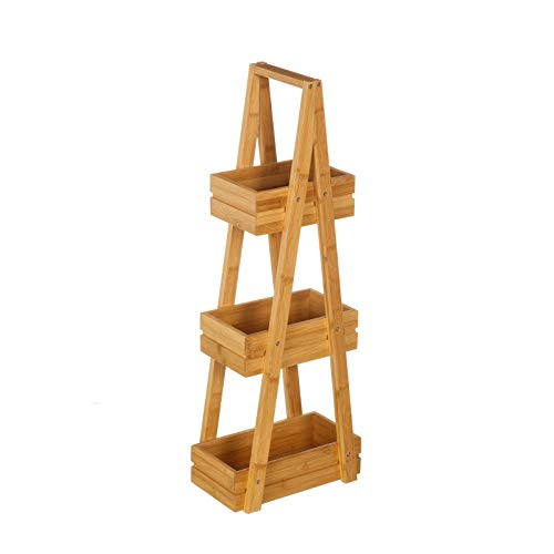 Estantería de 3 cestas nórdica marrón de bambú para baño Sol Naciente - LOLAhome ⭐