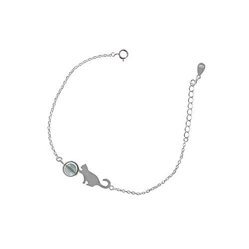 Bracelet Bracelet en Argent Doux Lune Mimi Chaton Dessin Fait À La Main Douce Fille Datant Cadeau pour La Mode Féminine