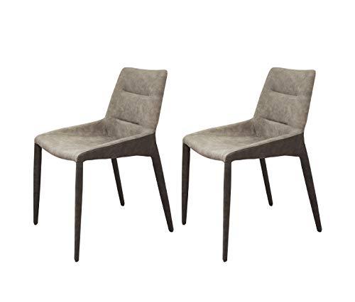 Meubletmoi – Juego de 2 sillas de piel sintética bicolor beige marrón – Diseño clásico conte