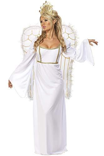 Smiffy's Smiffys-31289M Disfraz De Ángel, Con Vestido, Corona Y Alas, color blanco, M-EU Tamaño 40-42 31289M