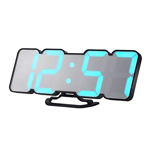 BECCYYLY Reloj de cabecera, Reloj de Alarma Ajustable HC-26 3D LED Digital Reloj Digital Control Remoto Alarma de Temperatura, Simple (Color: Negro) wmpa (Color : White)