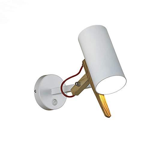 VOMI Brazo Largo Apliques Con Interruptor E27 Metal Interior Moderno Lámpara de Pared Brazo Oscilante Ajustable Iluminación de Pared de Madera Luz para Leer Sala Cuarto Estudio