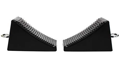 "MaxxHaul 50011 Rubber Wheel Chock with Eyelet (6-1/2"" x 3-3/4"" x 4""), 2 Pack"