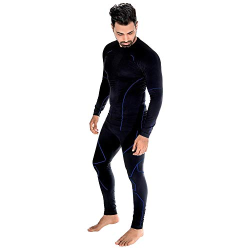 Black Snake® Caballeros Ropa Interior Térmica Python Seamless Base Layer Underwear - XL/XXL - Negro/Azul
