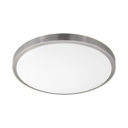 EGLO LED Deckenlampe Competa 1, 1 flammige Deckenleuchte, Material: Stahl und Kunststoff, Farbe: Nickel matt, weiß, Ø: 43 cm