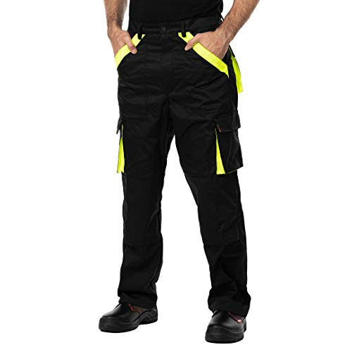 Pantalones de Trabajo para Hombre, Made in EU, Refuerzo y Acolchado en Las Rodillas, Pantalones Cargo (S, Negro/Reflectante)