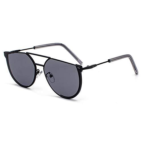 Sebasty Gafas de sol semicírculo para mujer, de metal, retro, protección UV400, color negro