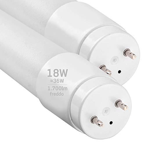2x Tubi LED 120cm G13 T8 18W Professionale Garanzia 5 Anni 1700 lumen - Luce Bianco Freddo 6400K - Fascio Luminoso 160° - Sostituzione Neon