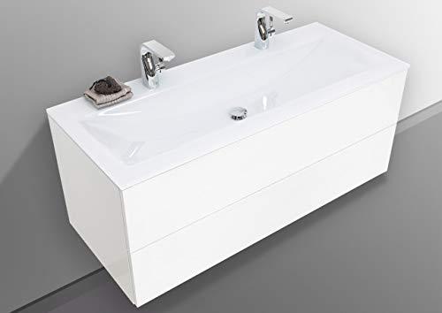 Intarbad ~ Glas- Doppelwaschtisch Optiwhite 120 cm mit Unterschrank grifflos, Waschtisch Set Grau Matt Lack IB5421