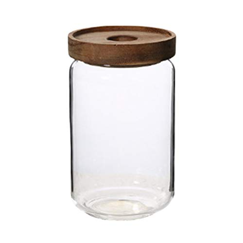 UPKOCH Glass Food Storage Jar Canister with Clip Top Bamboo Lids Glass Storage Container for Loose Tea Coffee Bean Sugar Salt 750ML