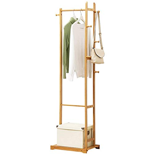 POETRY Solid Wood Coat Rack Shoe Rack 2 in 1 Simple Coat Rack Wooden Coat Rack Clothes Rack for Bedroom and Living Room