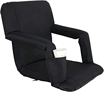 Portable Stadium Seat Chair Reclining Seat for Bench Bleachers W/Padded Cushion Shoulder Straps - 6 Reclining Positions - Water Resistant  Black