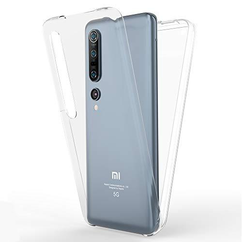 NALIA 360 Grad Handyhülle kompatibel mit Xiaomi Mi 10 Pro Hülle, Full-Cover Silikon Bumper mit Bildschirmschutz vorne Hardcase hinten, Komplettschutz Dünn Fullbody Hülle Handy-Tasche Cover - Transparent