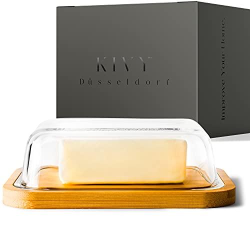 KIVY® Butterdose - Hochwertige Butterdose aus Glas mit edlem & nachhaltigem Bambusdeckel - Butterglocke für 250g Butter - Butterdose Glas mit Deckel Bambus - Butterschale Holz - Butter Dish - Box