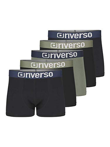 riverso Herren Boxershorts RIVJames 5er Pack Basic Boxer Retro Trunks Organic Cotton Bio 95% Baumwolle, Größe:XL, Farbe:Farbmix (P4)