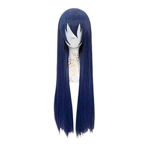 Peluca larga, Love Live! (Umi Sonoda) Cosplay de anime, Hombre Peluca recta larga azul marino, Pelucas de pelo sintético sin encaje