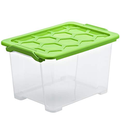 Rotho Evo Safe Keeping Aufbewahrungsbox mit Deckel 15 l, Kunststoff (PP), transparent/grün, 15 Liter 393 x 283 x 230 mm