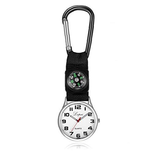 Rrunzfon Los niños Deportes Reloj de Cuarzo analógico Reloj del compás con el paño y el Metal del brazal de múltiples Funciones Simple Watch (Negro 1PC) Accesorios de la joyería del Reloj