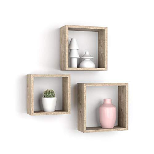 MOBILI FIVER, Set de 3 estantes de Pared Cuadrados, Giuditta, Color encina, Aglomerado y Melamina, Made in Italy