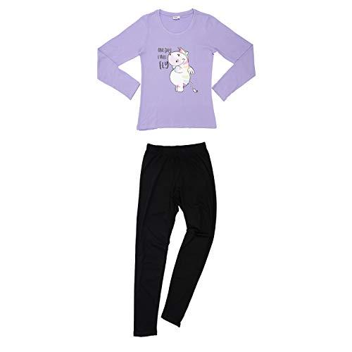 United Labels Pummeleinhorn Schlafanzug lang für Damen, Lila, Pyjama Frauen langärmlig (S)