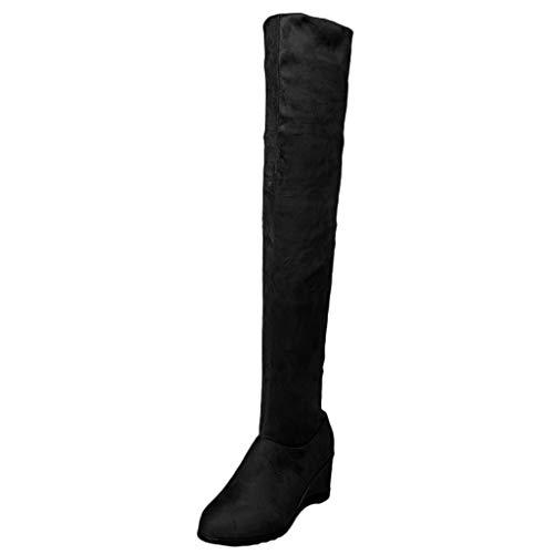 Overknee-Stiefel, Frauen Sockenstiefel High Heels Lang Boots Elegante Schuhe Bequem Winter Warme Damenschuhe Over The Knee Lange Stiefel Hohe Stiefel Keile Schuhe