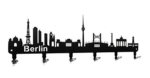 steelprint.de Wandgarderobe - Skyline Berlin - Flurgarderobe 58 cm - Deutschland - Kleiderhaken, Hakenleiste, Garderobeneiste, Garderobenhalter, Garderobe - Metall, schwarz