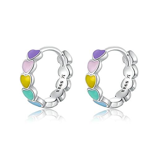 XAOQW 925 Plata esterlina Arco Iris Color Esmalte aro de corazón Pendientes para Mujeres Aros de oído joyería femenina-SCE909