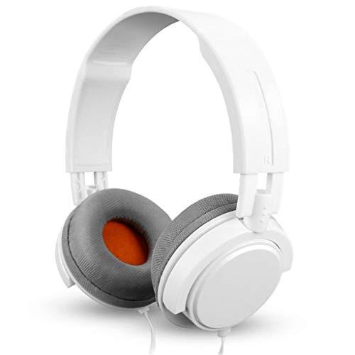 De DJ-monitormodus met subwoofer-hoofdtelefoon voor hoofdtelefoon met hoofdtelefoon en muziek met kabel kan worden gedraaid. Wit