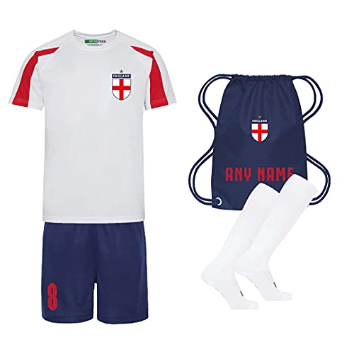 Sportees Retro Kids Personalised Contrast Red White Blue England Style Home Football Kit With FREE Socks Bag Youth Football England Boys Or Girls Football Jersey Child Football Kit 1213 Years