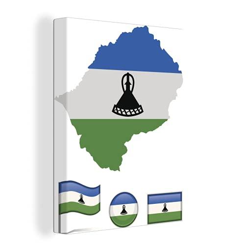 Leinwandbild - Illustration mit den Flaggen von Lesotho - 90x120 cm