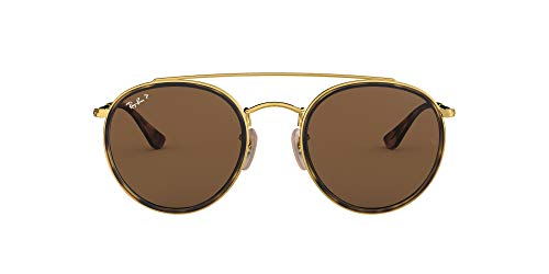 Ray-Ban 0RB3647N, Gafas de Sol Unisex Adulto, Dorado (Brown Classic), 51