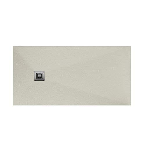 Plato de ducha rectangular de 160 x 70 x 3 centímetros, con válvula de desagüe, colección Suite N, color marfil (Referencia: 6347650)