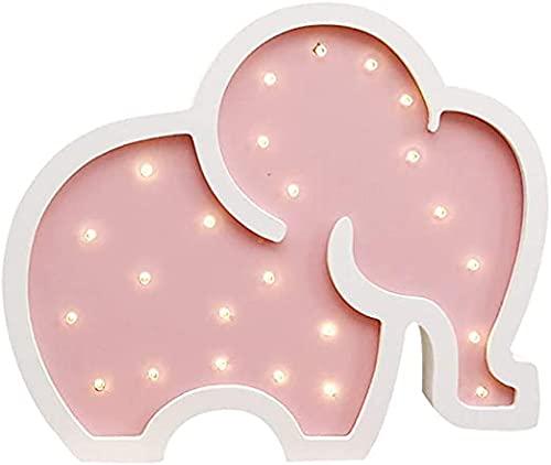 HIGHKAS Lindas lámparas de Noche LED de Elefante, Letrero de luz de marquesina de Madera, lámparas de Mesa, decoración de Pared, habitación de bebé para niñas, Letrero de luz LED de Boda de Navidad