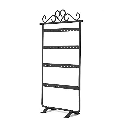 Flexzion Earring Holder 48 Holes, Metal Jewelry Organizer Tower Stand, 4 Tiers Layers Hanging Display Rack, Storage Hanger for Girls Jewelry Accessories (Black)