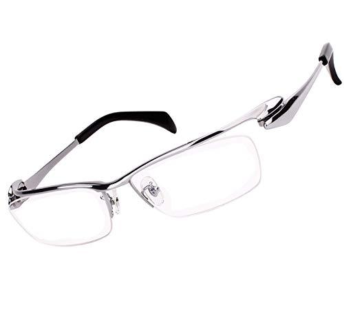 Agstum Luxury Titanium Semi Rimless Business Glasses Frame Eyeglasses Clear Lens (Ag1153-Silver)