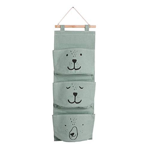 huiingwen Multi Storey - Bolsa de almacenamiento para colgar (lino, 3 bolsillos, resistente al agua)
