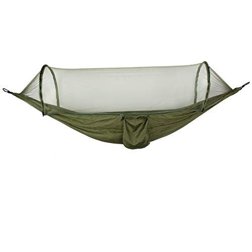SunnyLou Hamaca Ultraligera para Ultralight Netting Hammock Automático Despliegue Protección de Mosquitos Doble Levantamiento Muebles de Exterior Hamaca 250x120cm Hamaca Algodón (Color : Army Green)