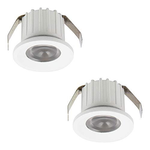 SIGMALED LIGHTING PACK 2 MINI SPOT LED 3W, Led dimmerabile 300lumen, faretto led luce fredda 6000K, ang. 30°, Ø35x25mm, alimentato diretto 230V, 1 scatola da 2 spot, Classe di efficienza energetica A+