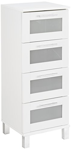trendteam smart living Badezimmer Schrank Kommode Florida, 35 x 89 x 33 cm in Weiß mit Schubkästen und viel Stauraum
