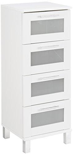 trendteam Badezimmer Schrank Kommode Florida, 35 x 89 x 33 cm in Weiß mit Schubkästen und viel Stauraum