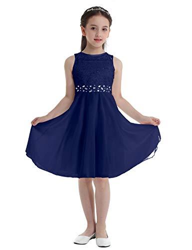 Freebily Vestido Largo de Fiesta Niña Vestido de Boda Bautizo Comunión con Lentejuelas Traje de Ceremonia Vestido de Flores Gala Niña Azul Marino 14 años