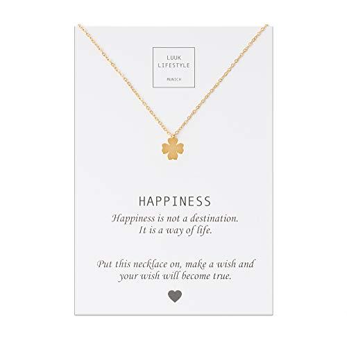 LUUK LIFESTYLE Collar de acero inoxidable con colgante de trébol de cuatro hojas y cita Happiness, joya de mujer, tarjeta de regalo, amuleto, oro
